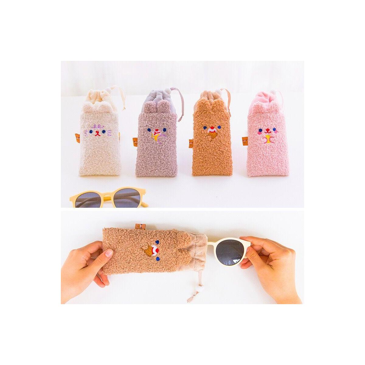 Cute Plush Bear Eye Glasses Travel Pouch, Pink