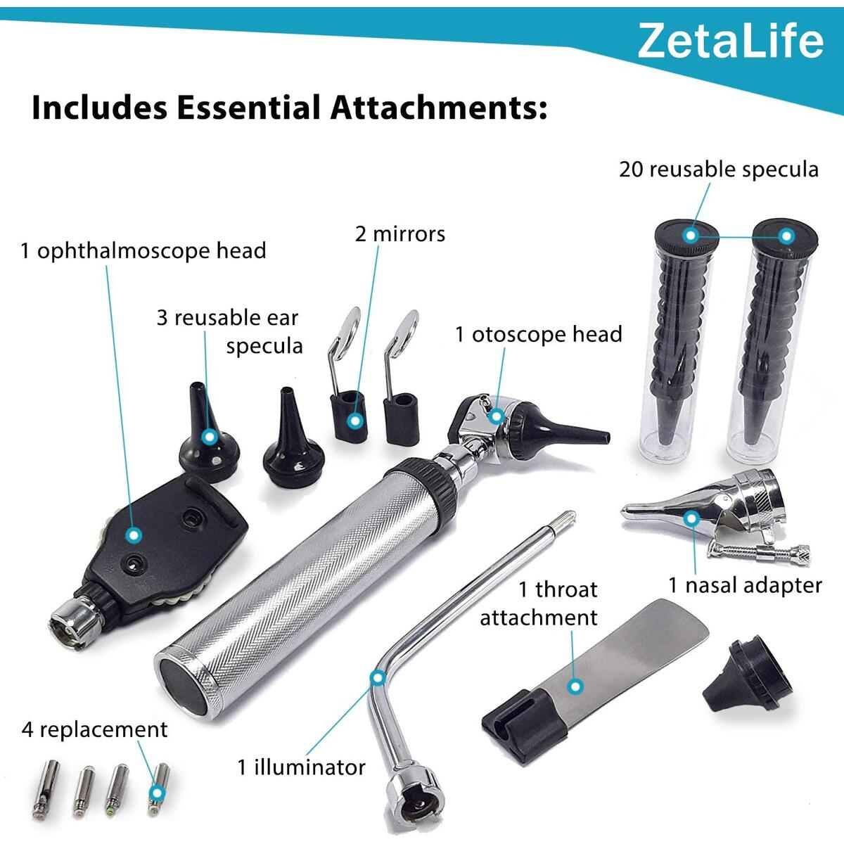 ZetaLife Diagnostic Set - Ear, Nose and Eye Exam at Home (Protect from COVID)