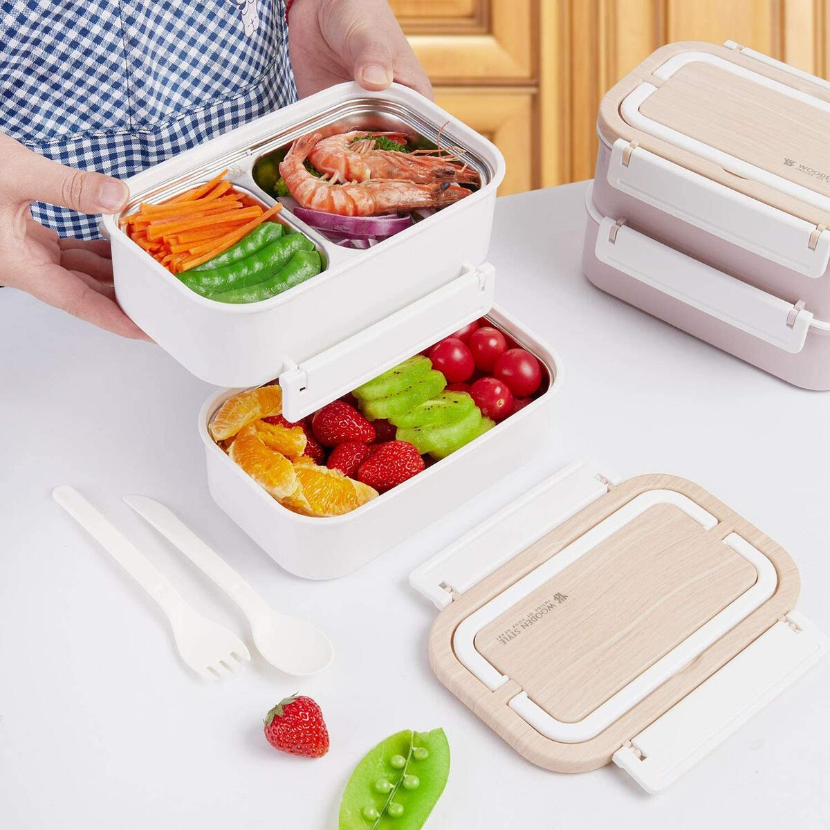 Stainless Steel Bento Box | Stackable Compartment & Bamboo &Leakproof Design Lunch Box | 2-Tier Portable Insulated Food Containerswith Utensil(White)