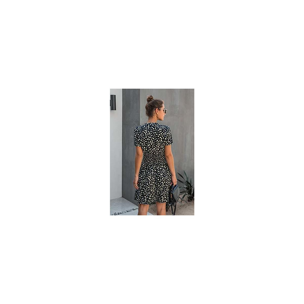 Women's Summer Polka Dot Ruffle Short Sleeve Dress Casual Mini Dress