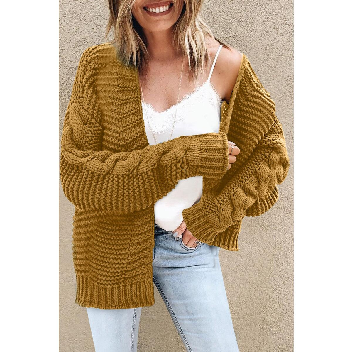 Chunky Knit Open Front Jumper | Preston, Yellow / L
