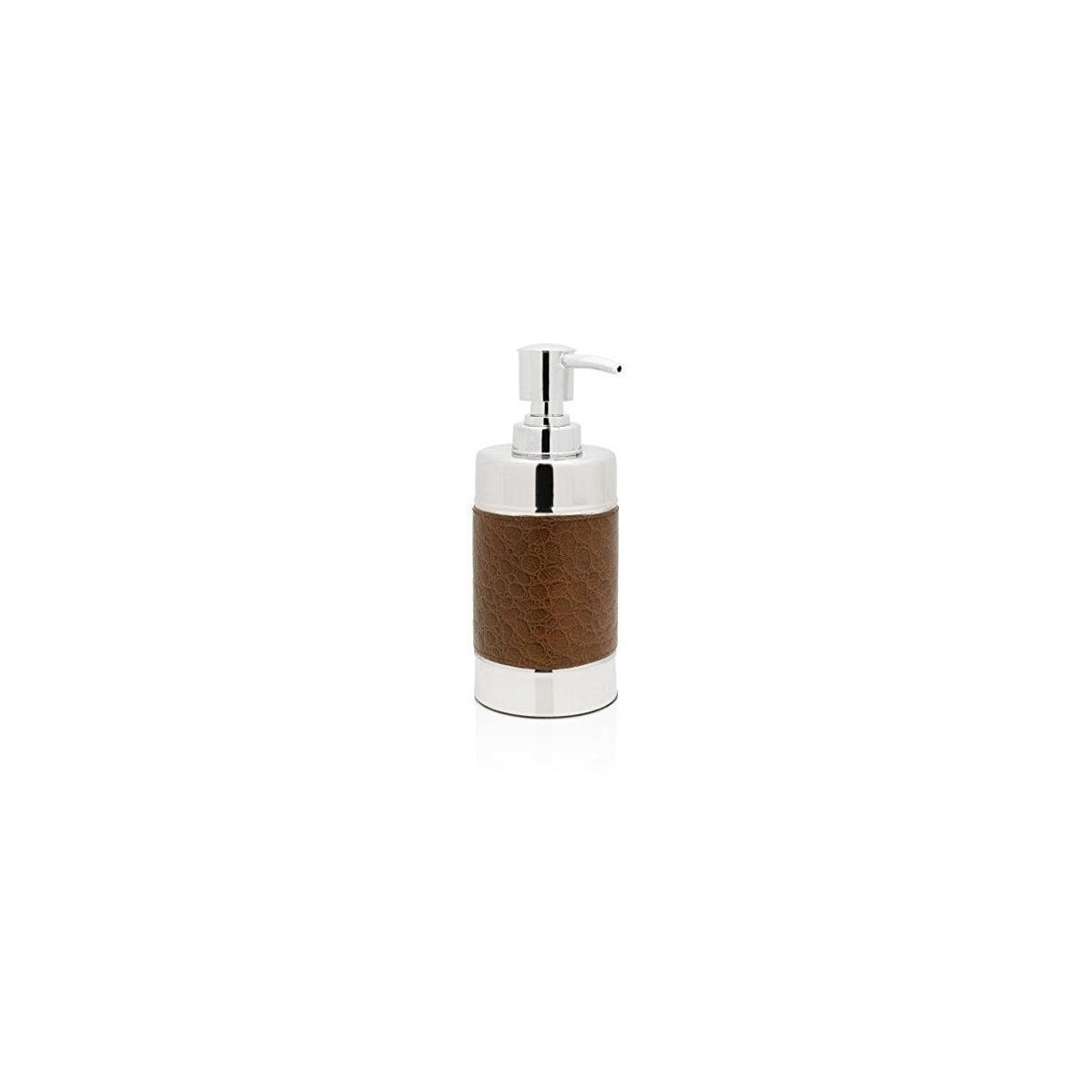 Genuine Leather Stainless Steel Bathroom Soap Dispenser, Brown