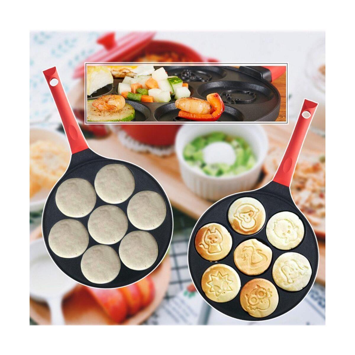 Aluminum Alloy Frying Pan Non-stick Breakfast Pot Fried Smiley Face Animal Mold Pancake Omelette Pan Seven-hole Egg Pot