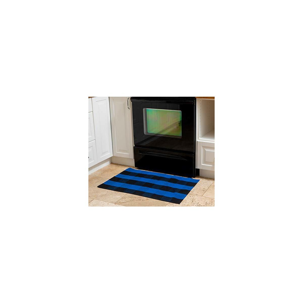 Eximius Power Buffalo Plaid Rug - Kitchen/Bathroom/LivingRoom/Bedroom/Front Door Mat/Outdoor - Plaid Washable Welcome Decorations - Indoor Runner Doormat Hand-Woven Checkered Carpet Rugs(Blue/Black)