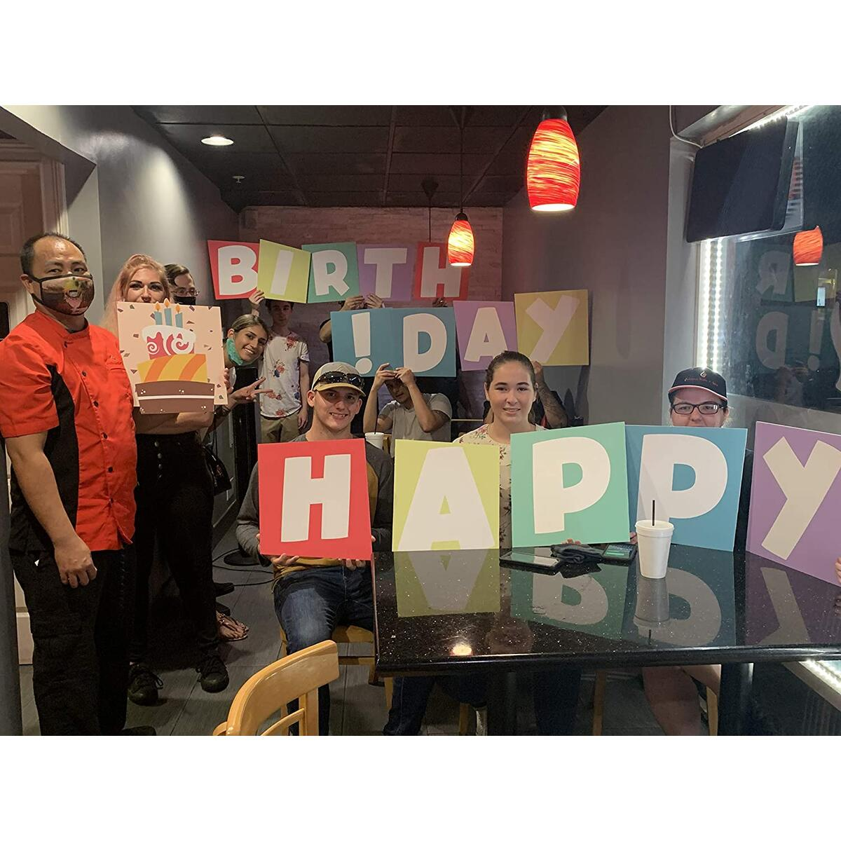 Melgar King Happy Birthday Yard Sign - Outdoor Party Decoration for Your Lawn | Weather Resistant 15 inch Letters with H - Stakes - 15pc Set | Includes Cake | Great for Kids and Adults