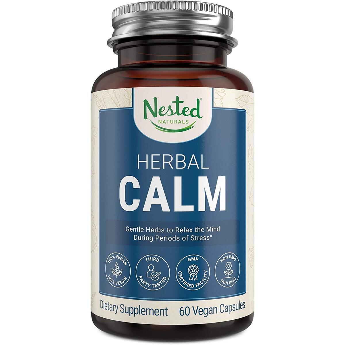 Nested Naturals Herbal Calm   Natural Anxiety and Stress Relief Supplement   Organic Ashwagandha Root Powder & Holy Basil Vitamin