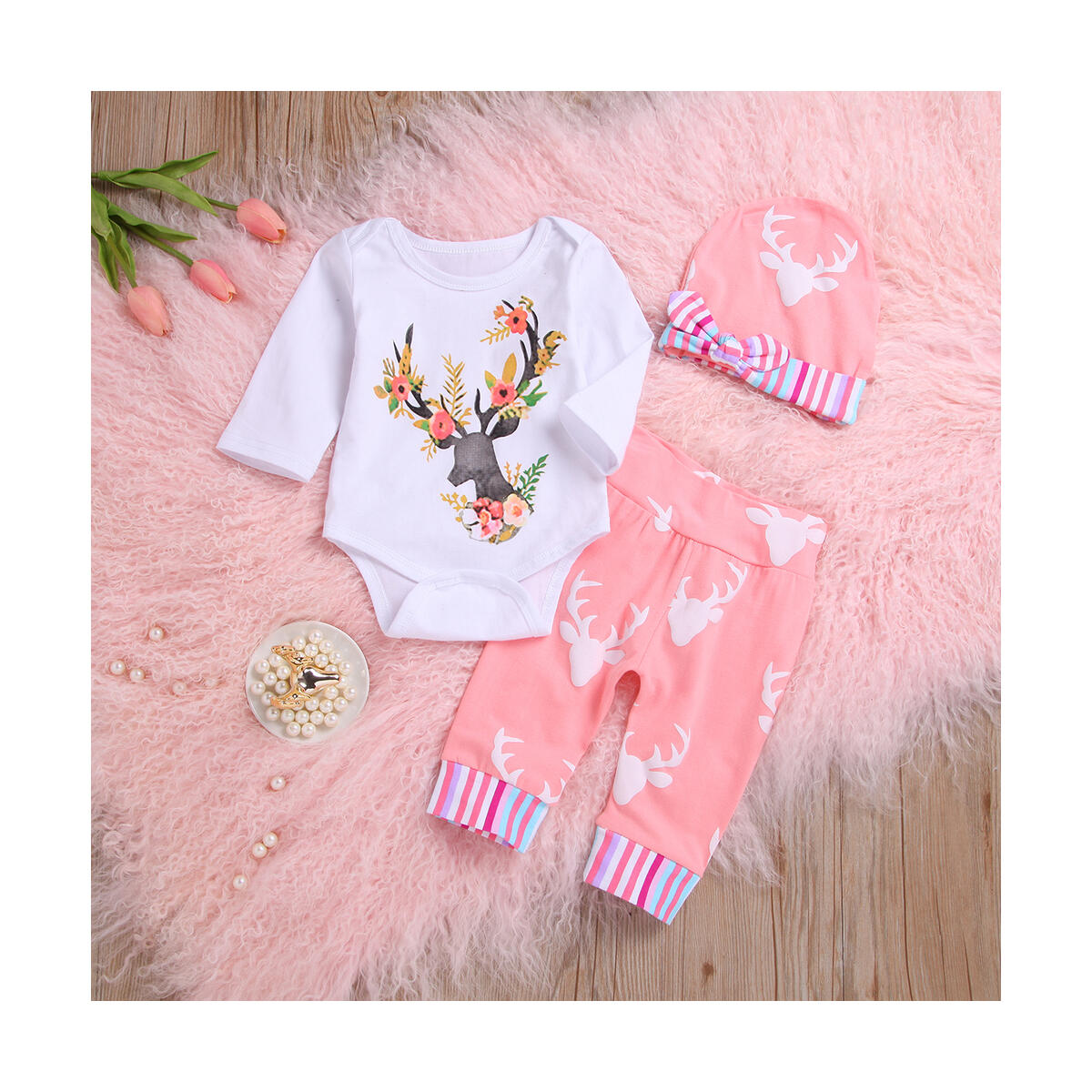 Newborn Baby Girl Floral Clothes 3/4 Sleeve Deer Bodysuit Top Long Pant Hat Outfit Set