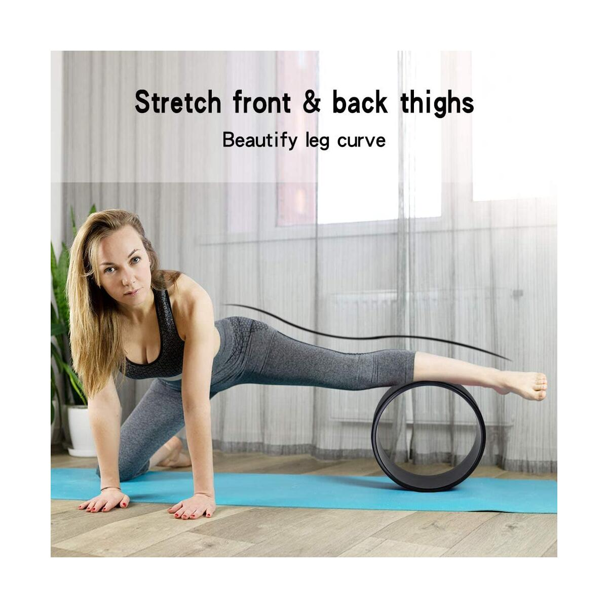 EnterSports Yoga Wheel Set Sports Yoga Roller for Women Back Pain, Stretching, Backbends and Improving Flexibility Training with Yoga Stretch Strap