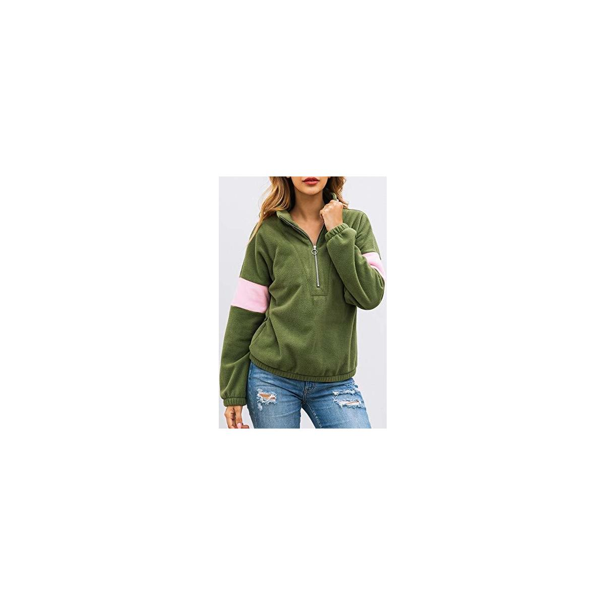 Women's Long Sleeve Half Zipper Pullover Sweatshirt Crossing Windproof Fleece Anti-Pilling Coat Winter Outwear Tops