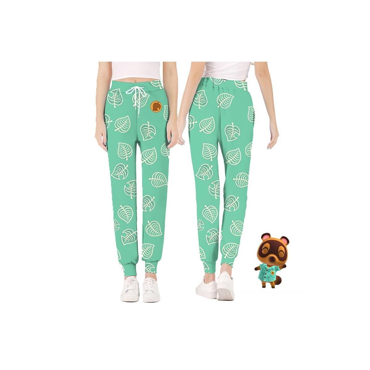 Animal Crossing Leaf Pattern Lounge Pajama Jogger Pants, green / M