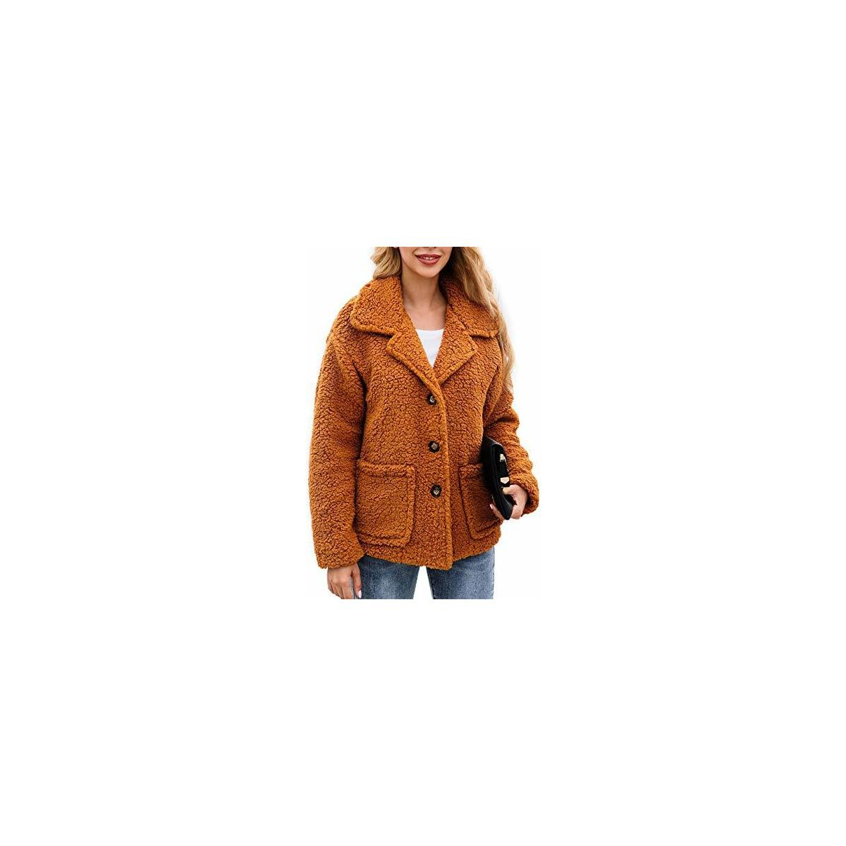 Women's Coat Casual Lapel Fleece Fuzzy Cozy Fit Cardigans Shearling Button Winter Coat Jackets with Pockets