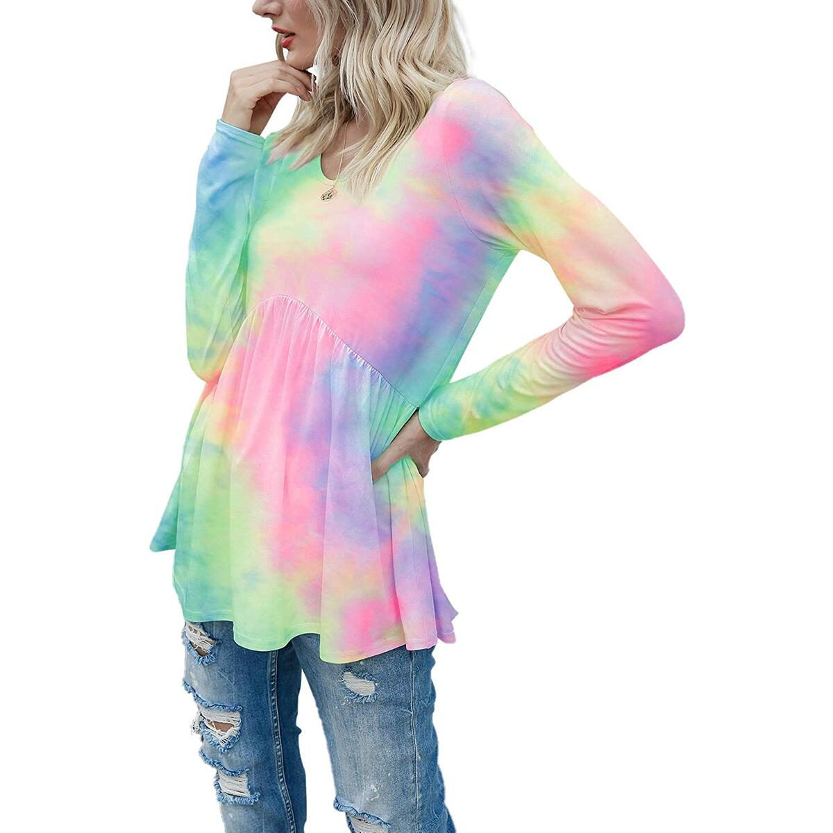 BASVO Davenil Women's Tie Dye Peplum Tops Long Sleeve Shirt Round Neck Loose Fitting Tunic Tops