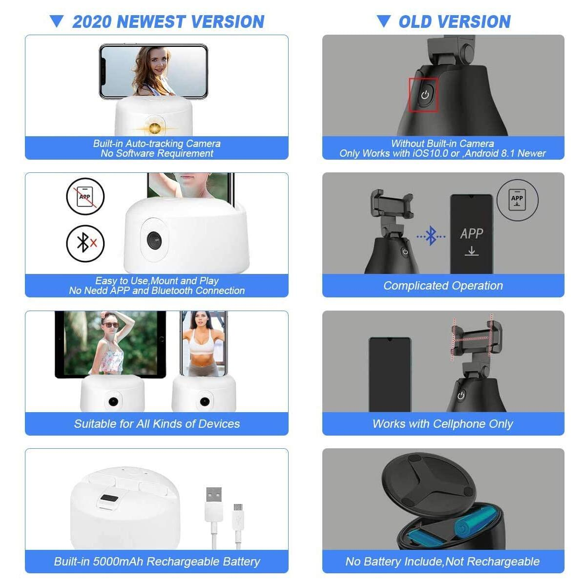 Selfie Stick, 360° Rotation Auto Tracing【NO APP Required】,Hands-Free for Body & Action Auto-Tracking,A 360 Camera Mount Lasting Long Time for Vlog,Tiktok Alive,Video Streaming,Families Show Recording