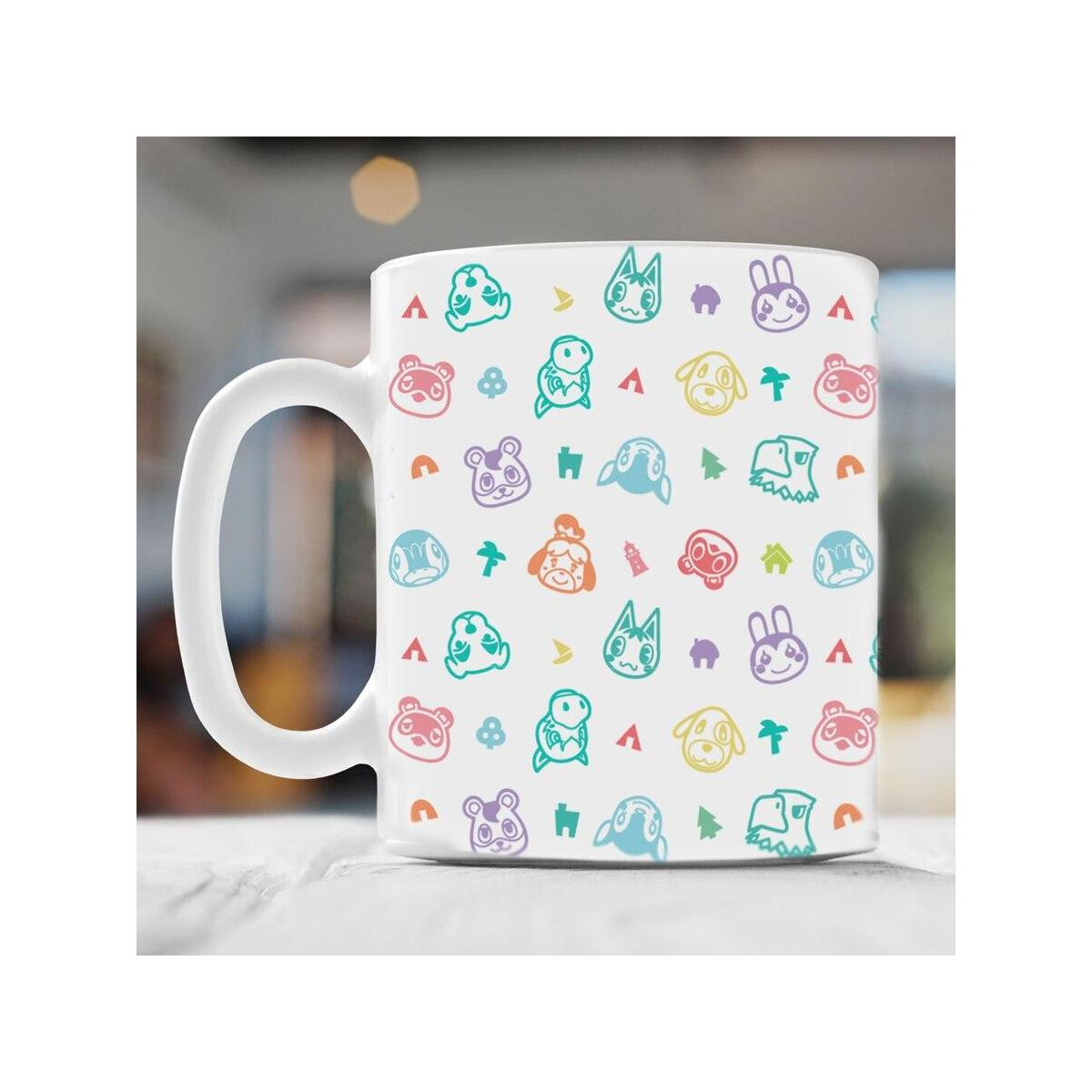 Animal Crossing New Horizons Pastel Pattern 11oz Ceramic Coffee Mug, White / 11oz