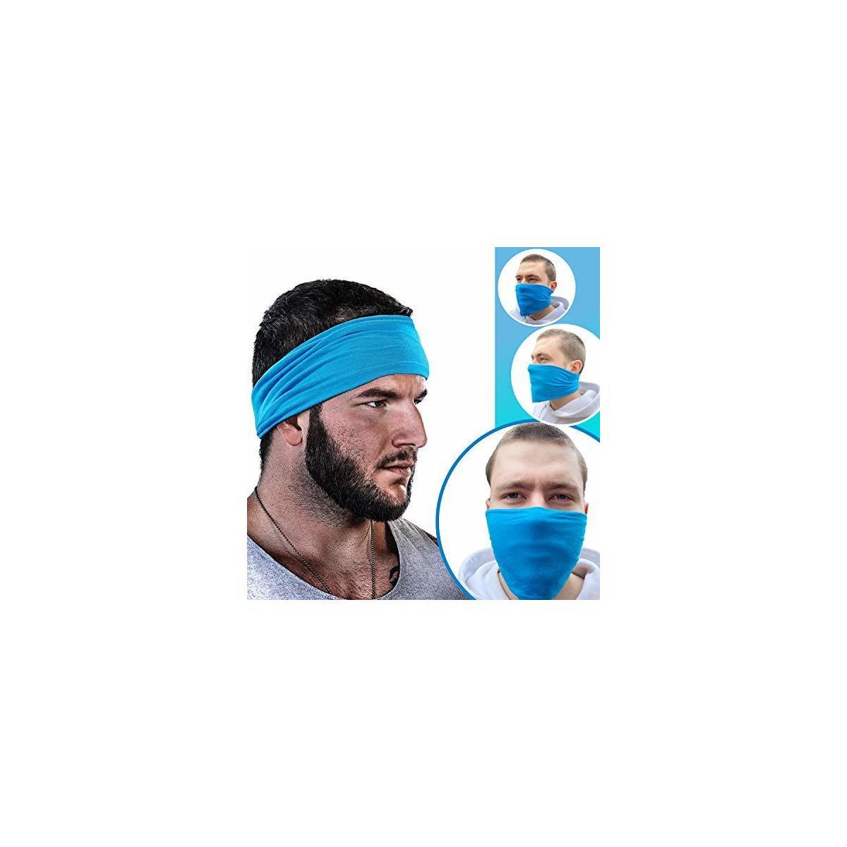 GearTOP Mens Headband Guys Sweatband | Face Mask | Ultimate Moisture Wicking Multi-Purpose Headbands