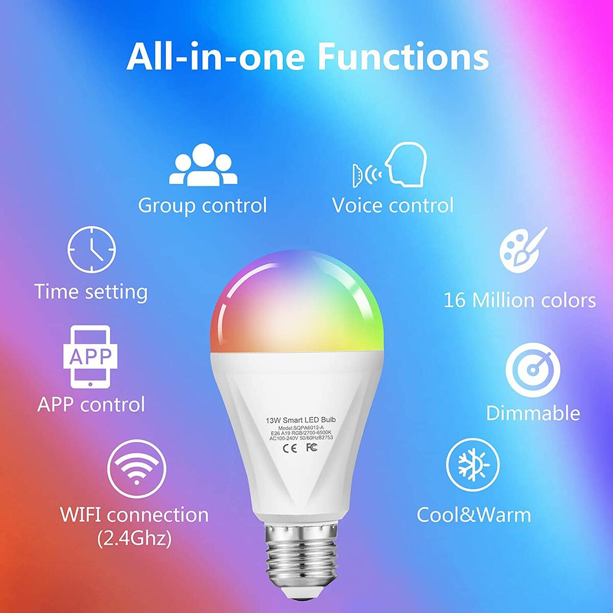 Alexa Smart WiFi Light Bulb, 13W RGBCW Color Changing Led Bulb Compatible with Alexa Echo Google Home and Siri, 2700K-6500K 1300LM Dimmable A19 E26 120W Equivalent, No Hub Required - 2 Pack