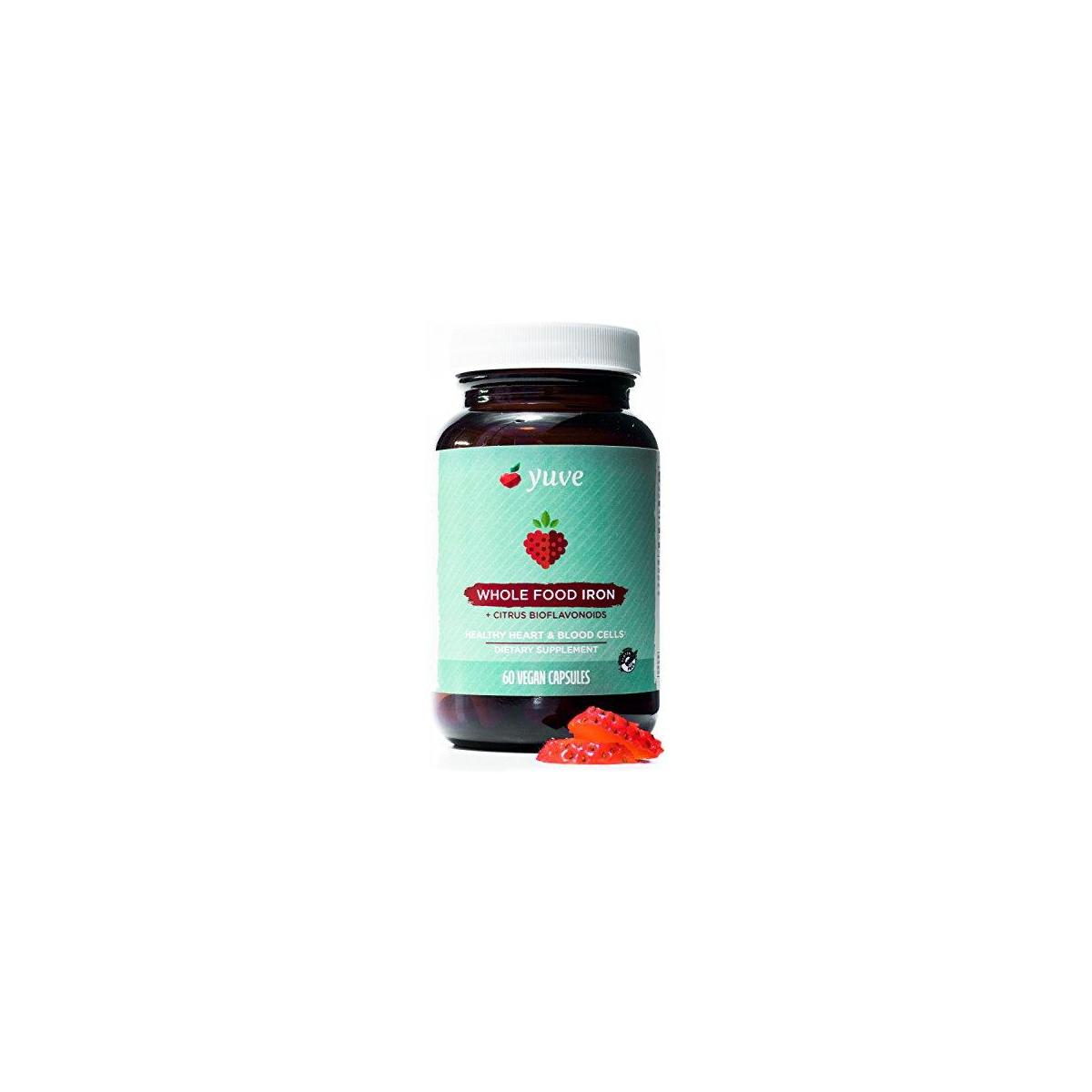 Yuve Whole Food Chelated Iron 18 mg Supplement - Formulated for Maximum Absorbption - Supports Healthy Heart & Blood Cells - Boosts Energy & Cognitive Functions - Vegan, Non-GMO, Gluten-Free - 60 Caps