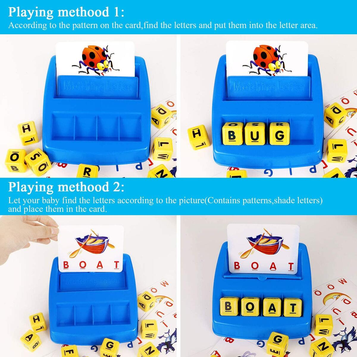 Matching Letter Game, Alphabet Reading & Spelling, Words & Objects, Number & Color Recognition, Educational Learning Toy for Preschooler, Kindergarten 3+ Years Old Kids Boys Girls Toddlers (Style B)