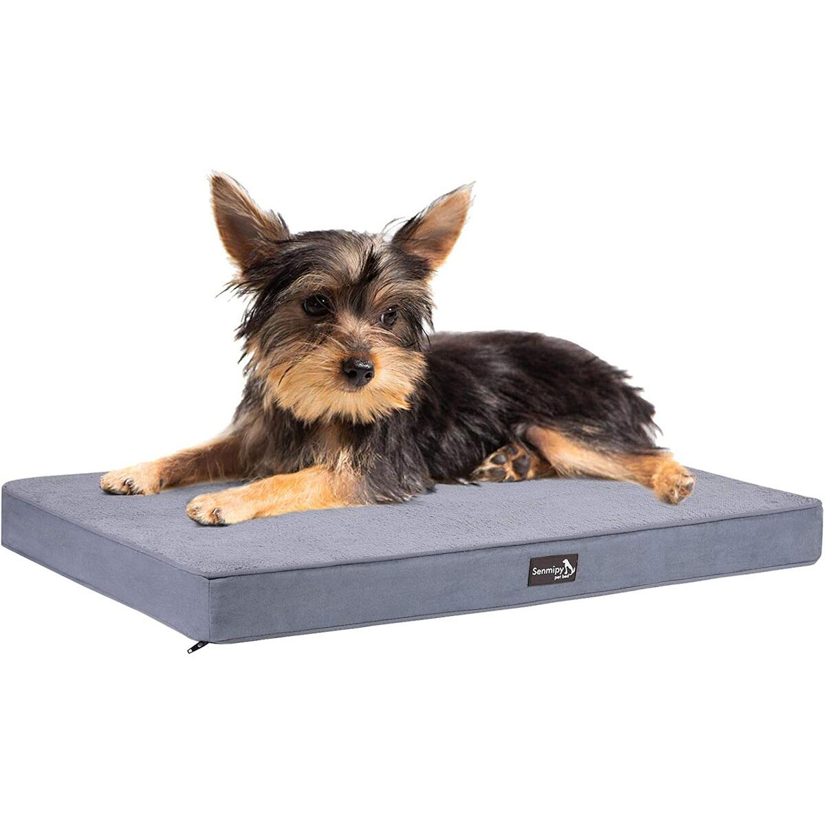 Senmipy Orthopedic Memory Foam Dog Bed for Small, Medium, Large Dogs & Cats, Plush Pet Bed Mattress with Removable Washable Cover