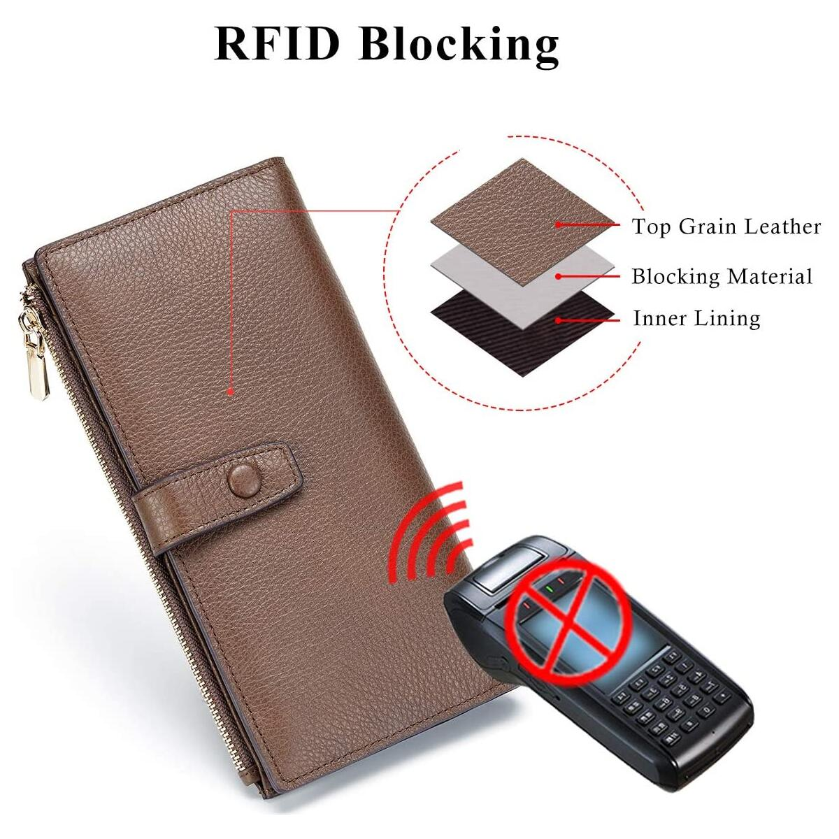 Leather Wallets for Women RFID Blocking Wallet with Check Holder Large Capacity Clutch Wallet with Zipper Pocket Pebble Leather