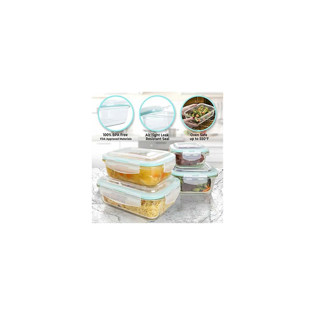 [20 Piece] Glass Food Storage Containers Set with Snap Lock Lids