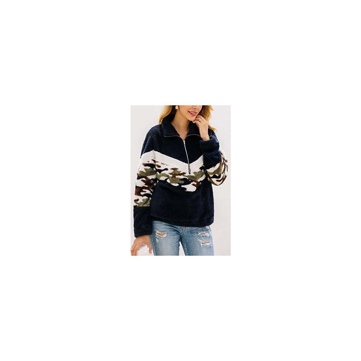Women's Long Sleeve Camo Print Patchwork Fleece Pullover Tops Fluffy Jacket with Pocket Navy Large