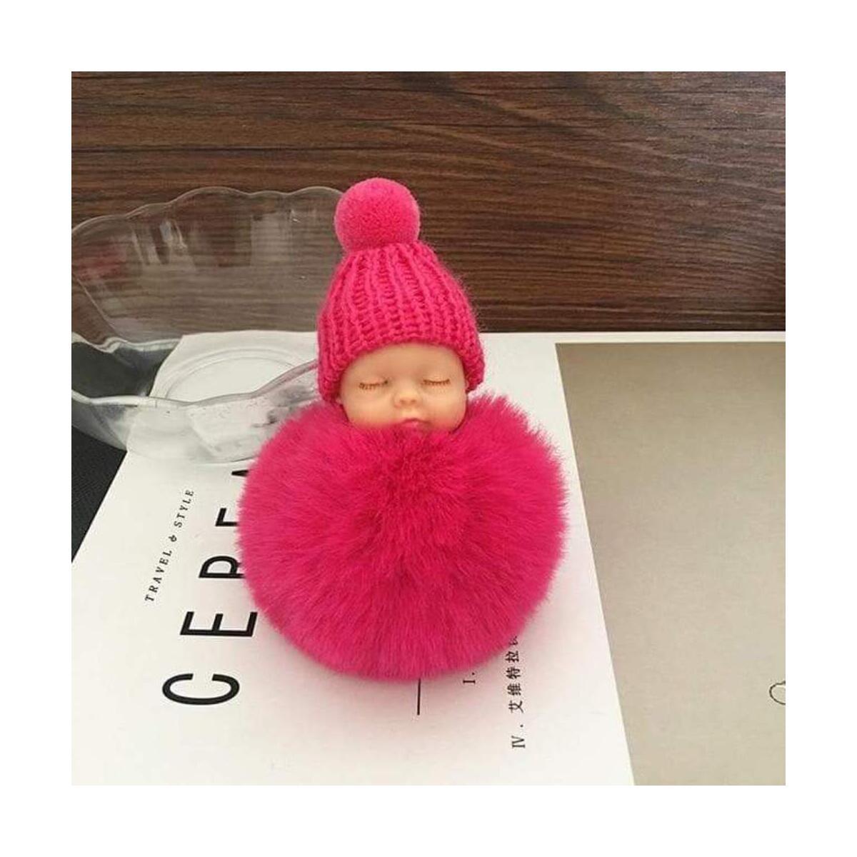 Sleeping Baby Doll Keychain Fur Fluffy Pompom Bags Charm Pendant