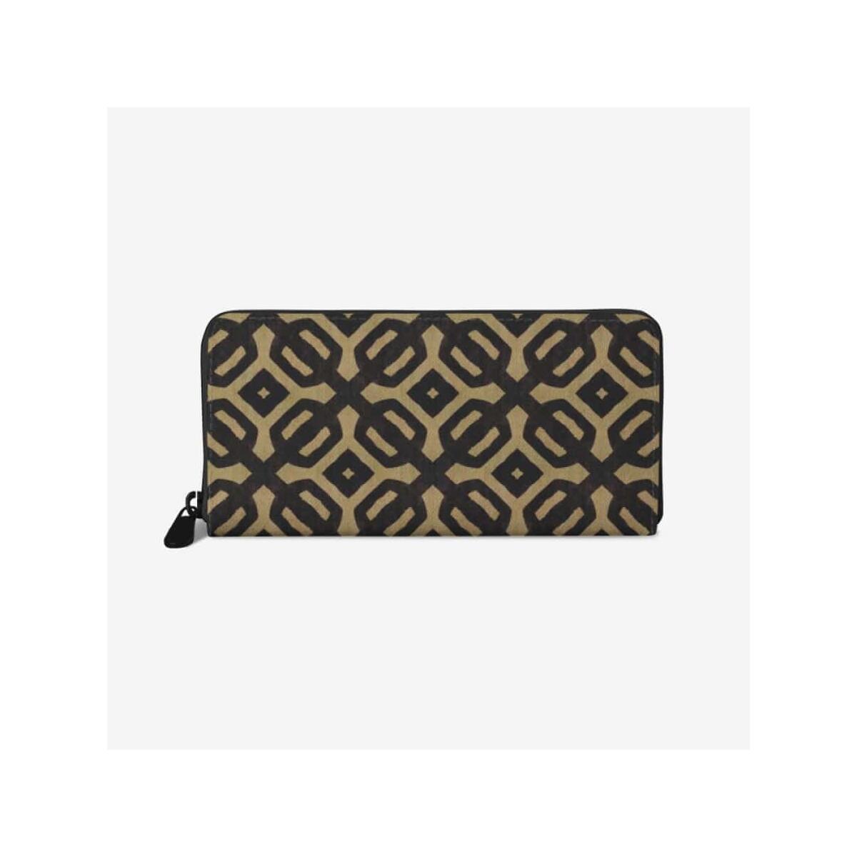 Brown Black Bogolan premium PU Leather Wallet, White