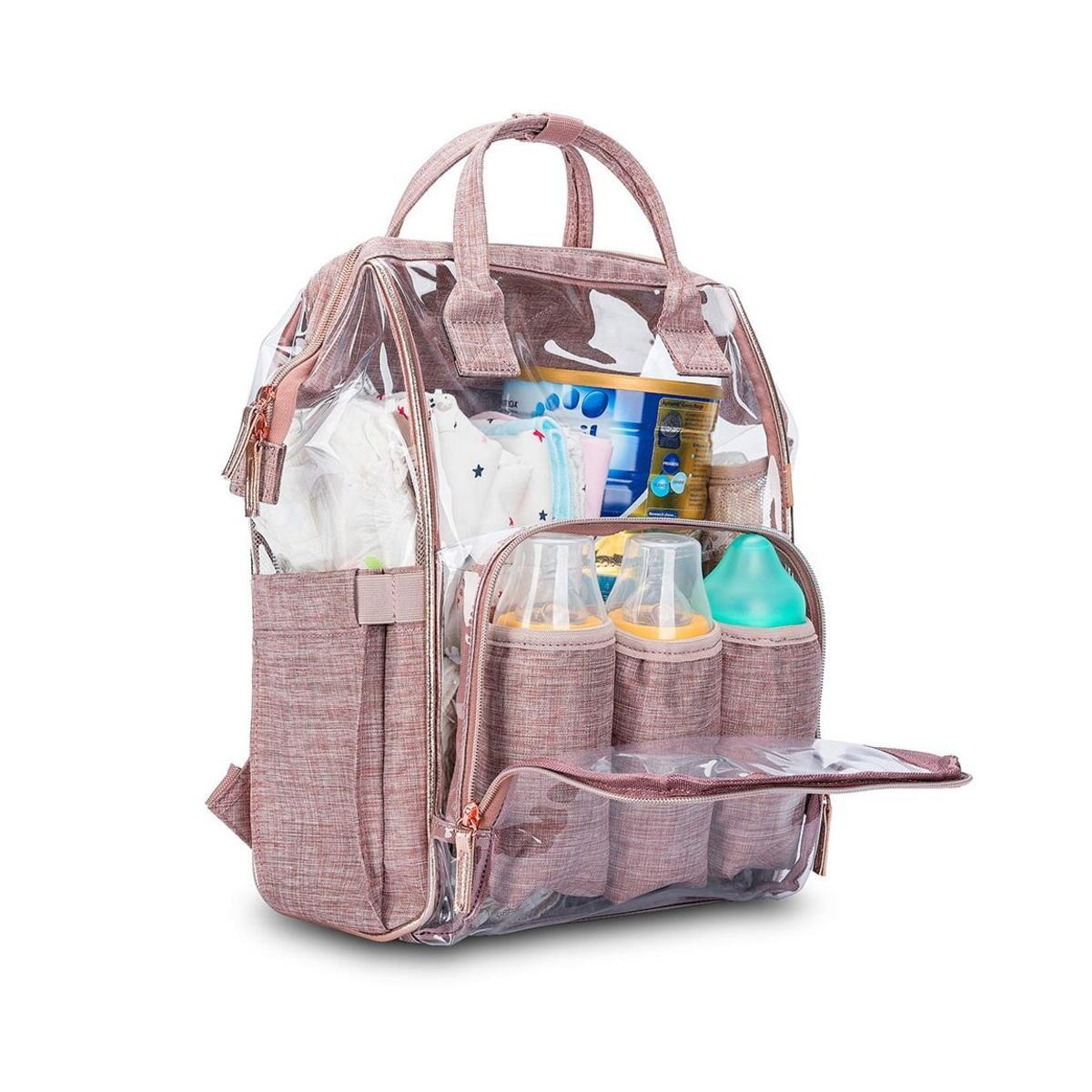Clear Diaper Bag Backpack Transparent Nappy Bag with Changing Pad Pocket