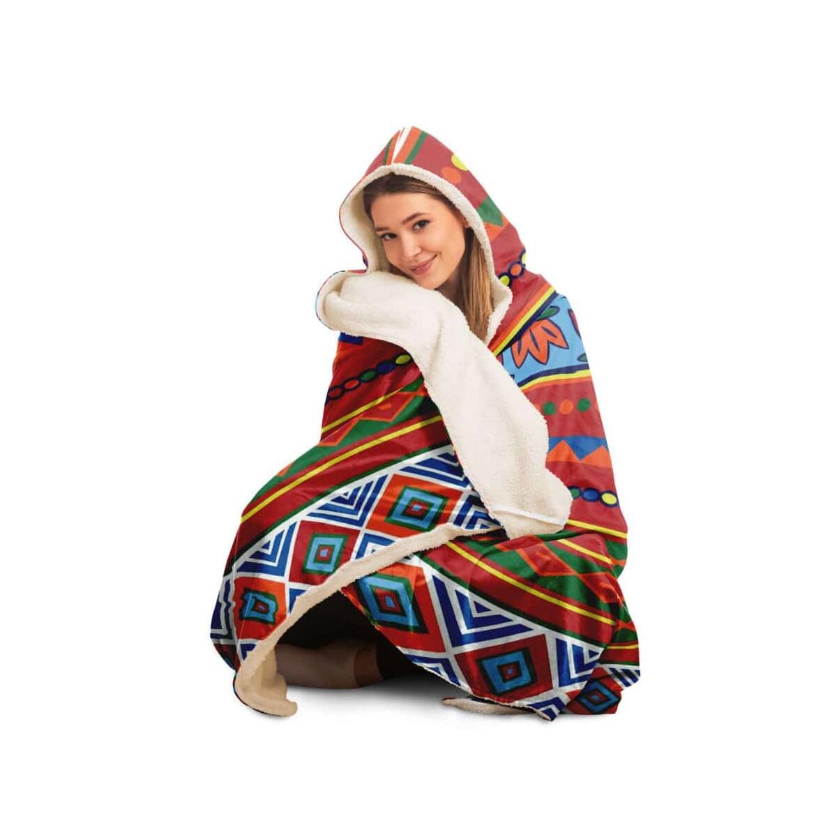African Lotus Hooded Blanket, Youth / Premium Sherpa