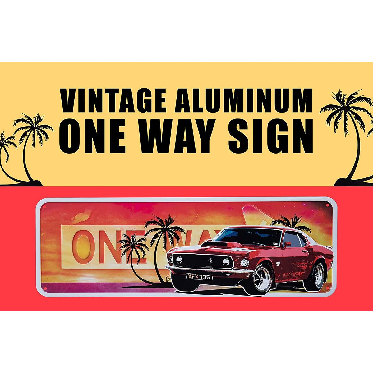 Badger Track Vintage Room Décor Road Sign – Retro Décor Signs – Car License Plate– One Way and Speed Limit Signs – Rustic Garage Décor Signs – Metal Shop Sign (Red)