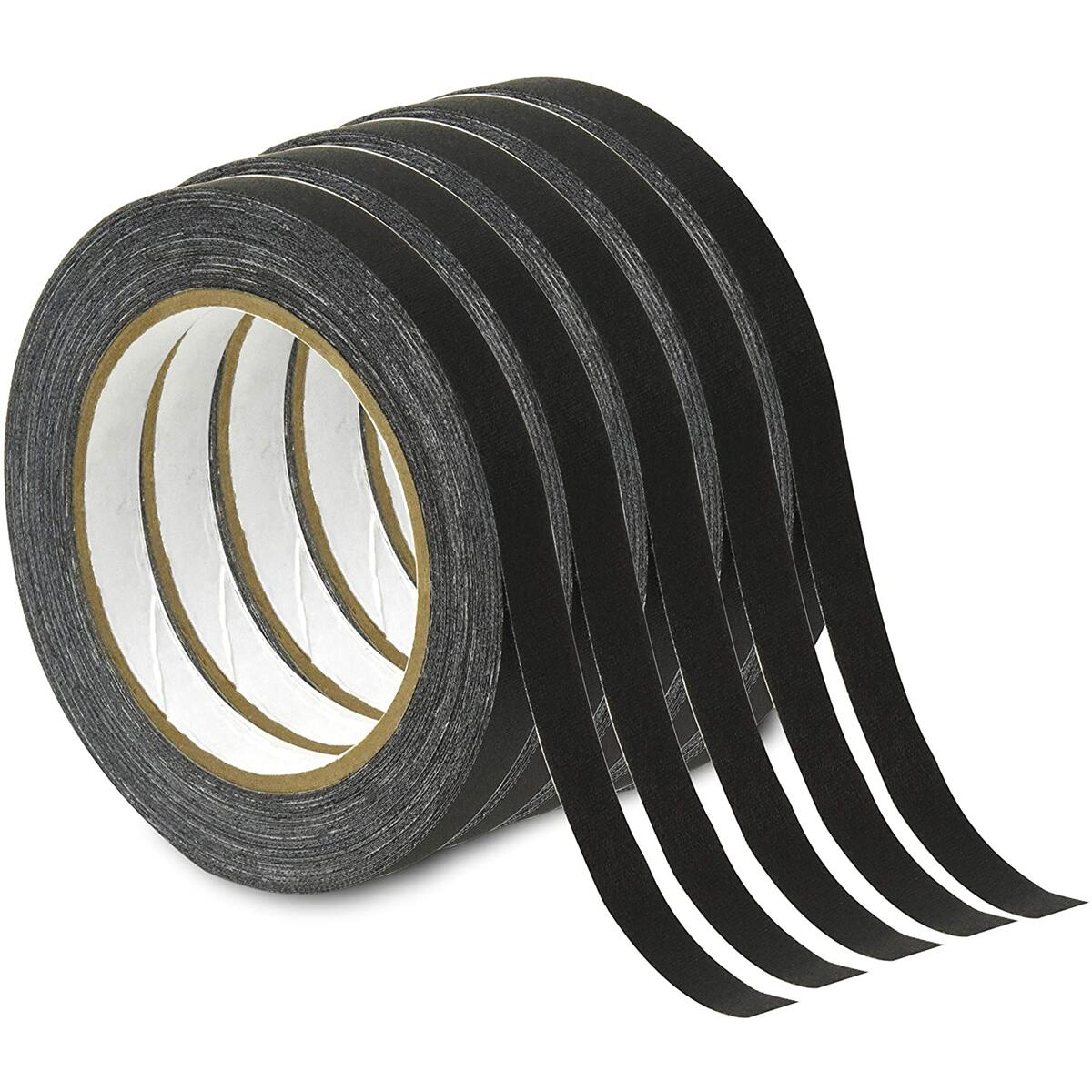 New - Gaffer Power Spike Tape - Premium Cloth Tape | Dry Erase Tape for Whiteboard | Art Tape| Pinstripe Tape for Floors, Stages, Sets, Metal | 5 Pack (1/2 X 20 Yards) - Black