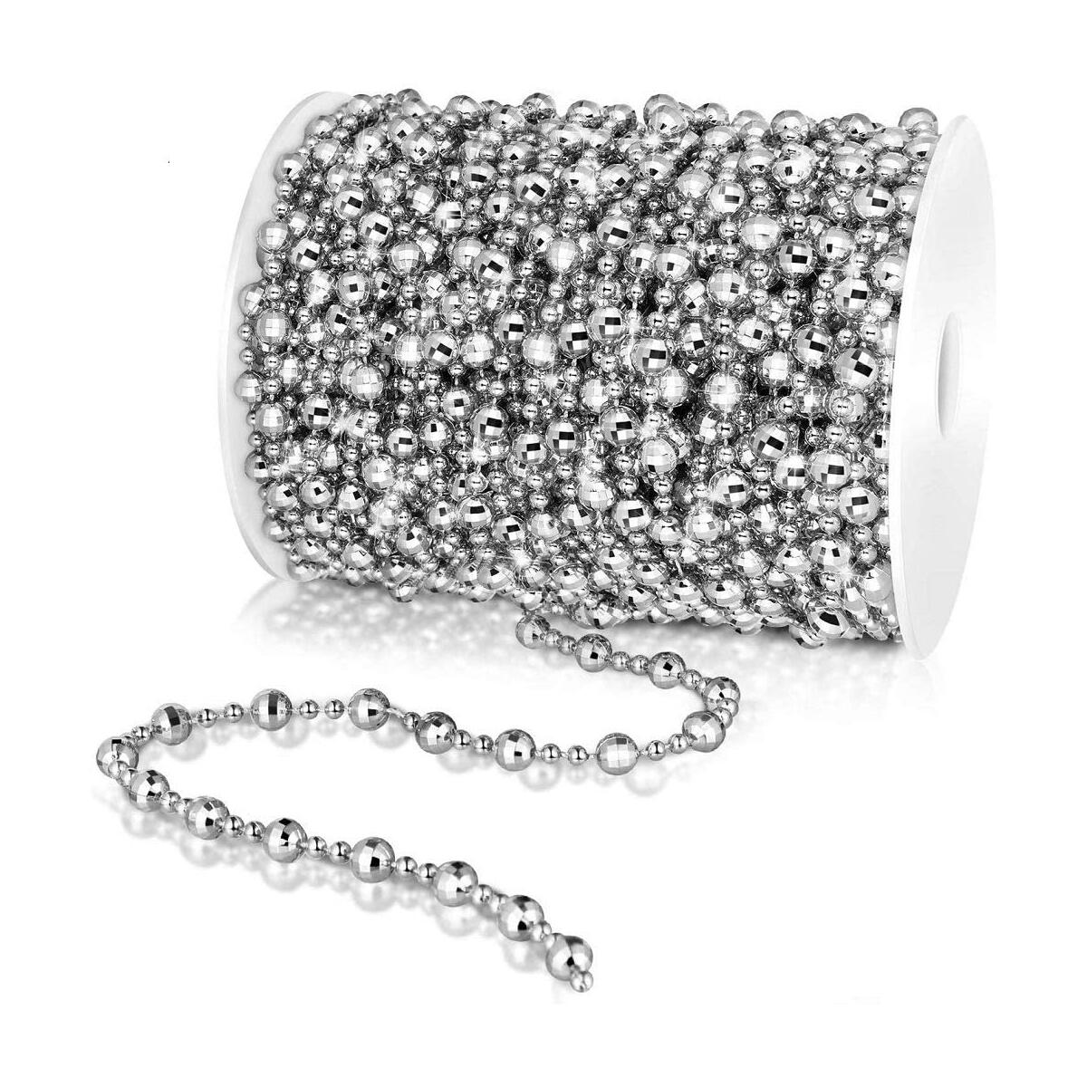 Bead Garland,Equal Sign 66 Feet Christmas Tree Beads Artificial Pearls Beads Garland for Party Decorations (Silver)
