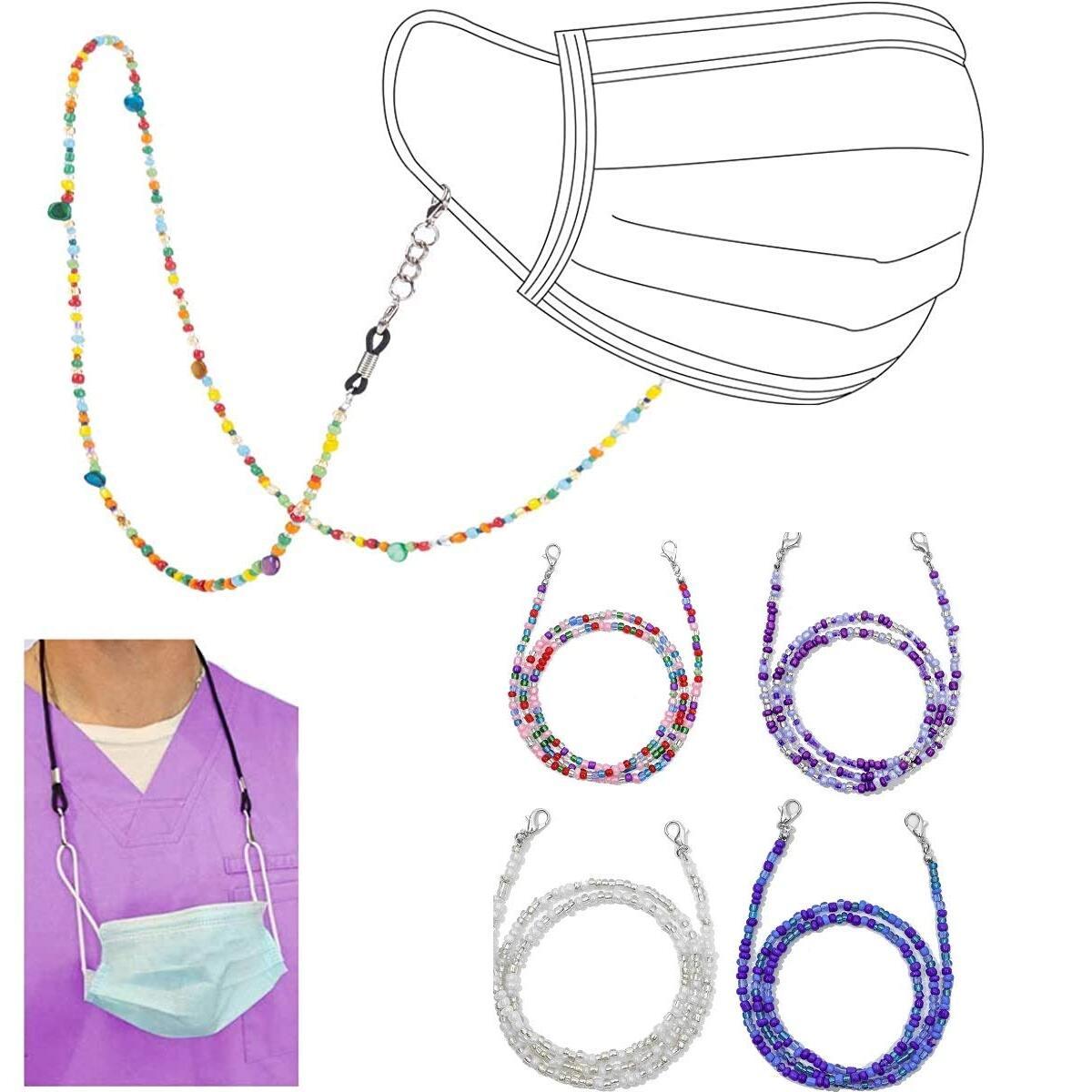 Multifunction Mask Glasses Lanyard Unisex Mask Strap,Anti-Lost Mask Leash, Suitable for Men, Women, Children, Elderly 4 Pack (Multi-4pcs)