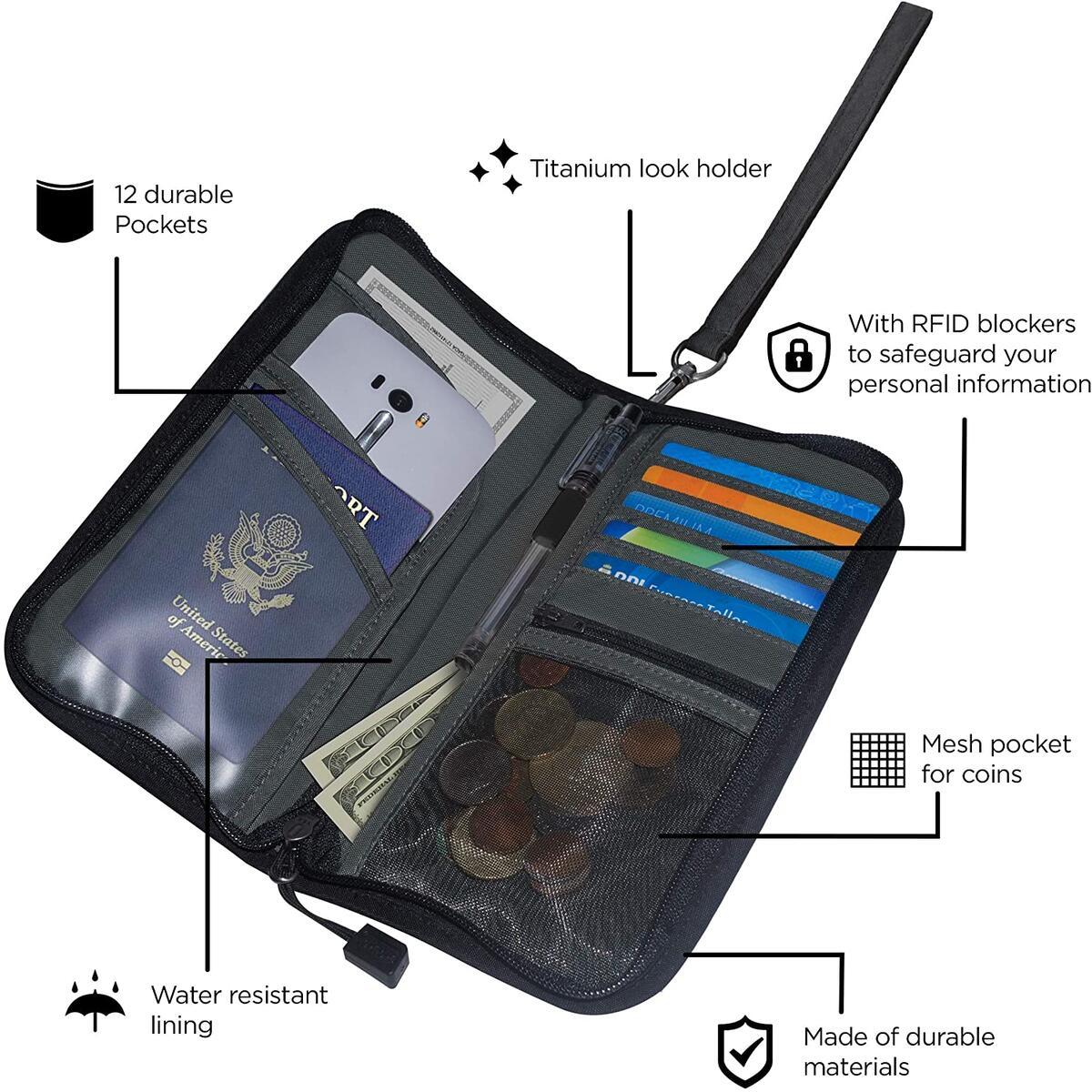 Travel Wallet Passport Holder - Rfid Blocking Document Organizer Family Passport Holder