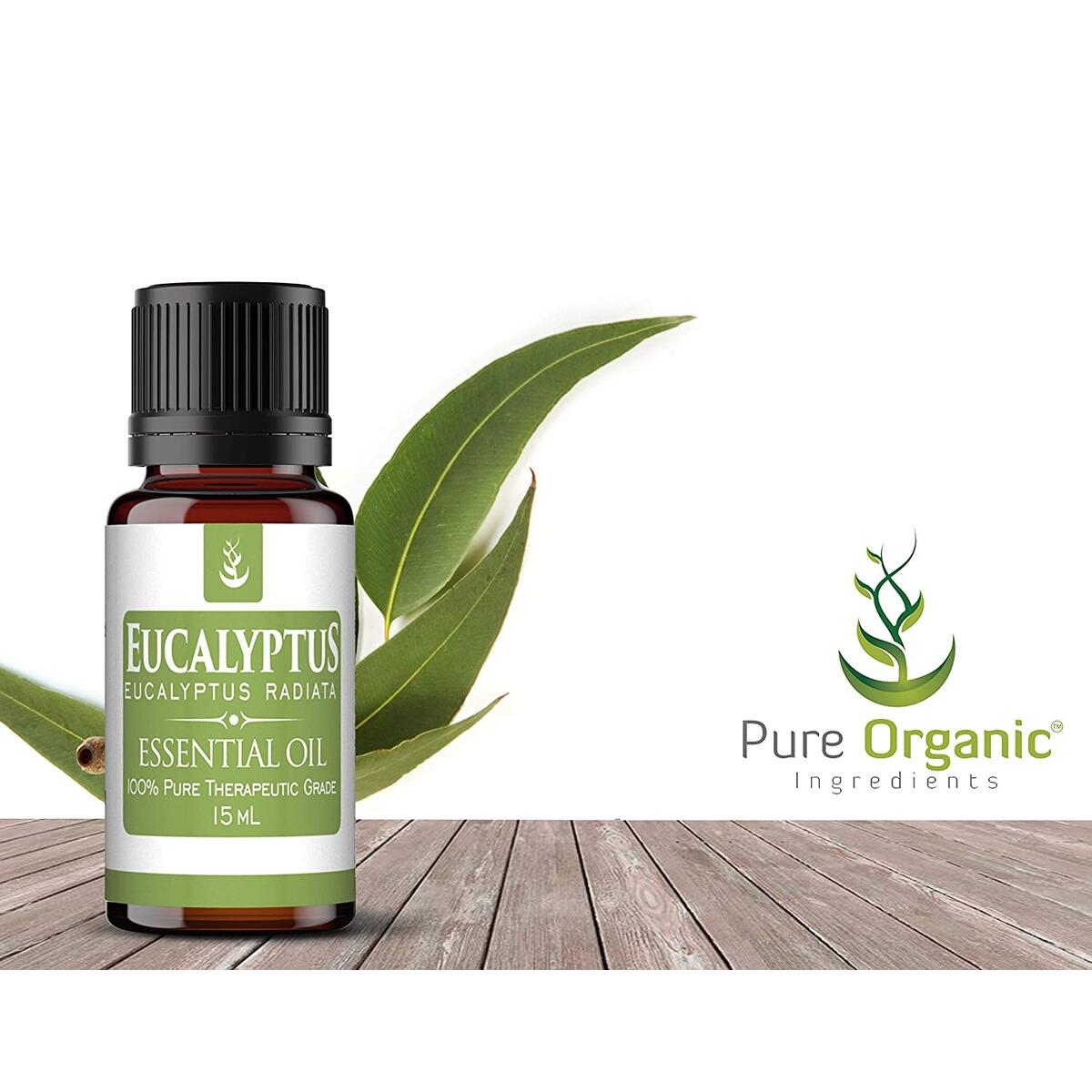 Eucalyptus Essential Oil (15 ml) by Pure Organic Ingredients, Clean Surfaces & Purify the Air, Help Promote Feelings of Relaxation & Clear Breathing, Fresh & Invigorating Aroma