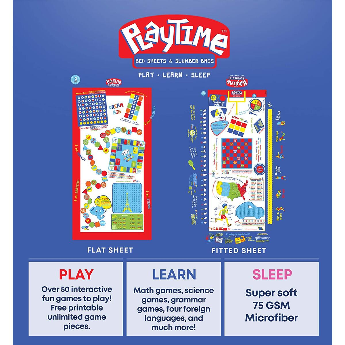 Playtime Bed Sheets Blue Twin Sheet Set with Over 50 Fun and Educational Games & Puzzles. 3 Piece Ultra Soft Microfiber Bedding Set for Kids!
