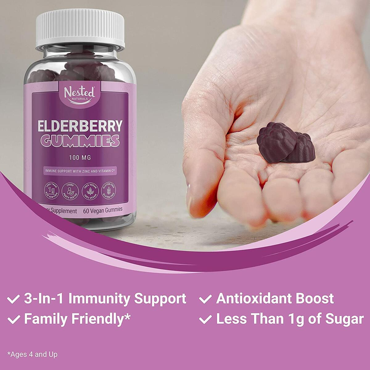 Nested Naturals Elderberry Gummies | Immune System & Antioxidant Support Supplement for Adults & Kids