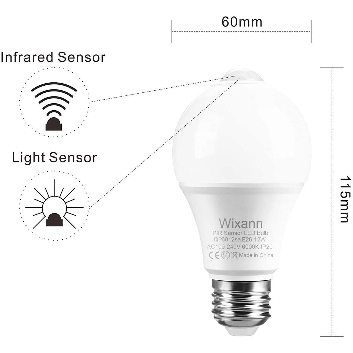 Wixann Motion Sensor Light Bulbs,12W(100W Equivalent), Motion Activated Security LED Bulb Lamp Indoor/Outdoor for Garage Front Door Porch Stairs Hallway E26, A19, 6000K Daylight- 2PACK