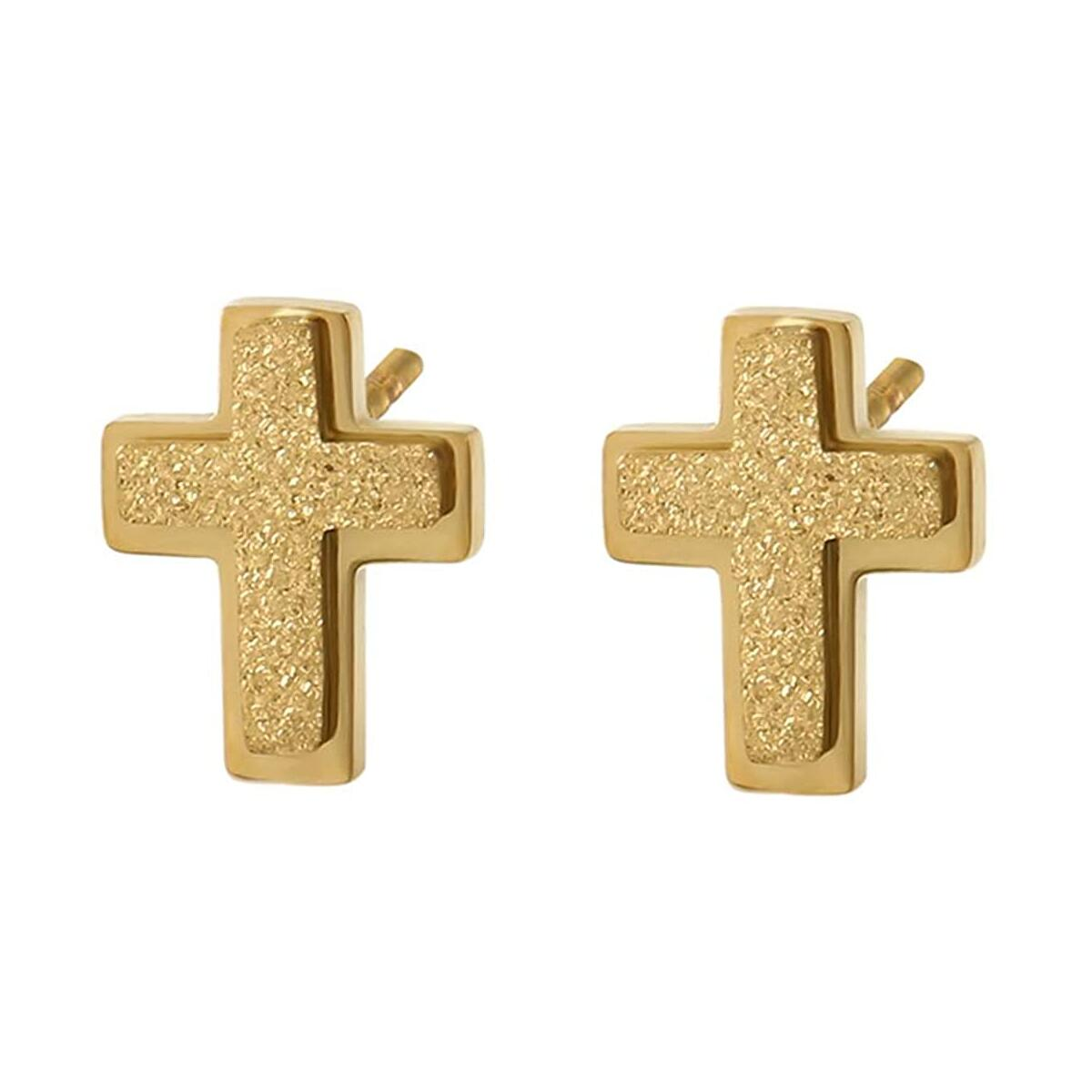 Ya Malanii 14K Gold Cross stud Earrings for women and girls