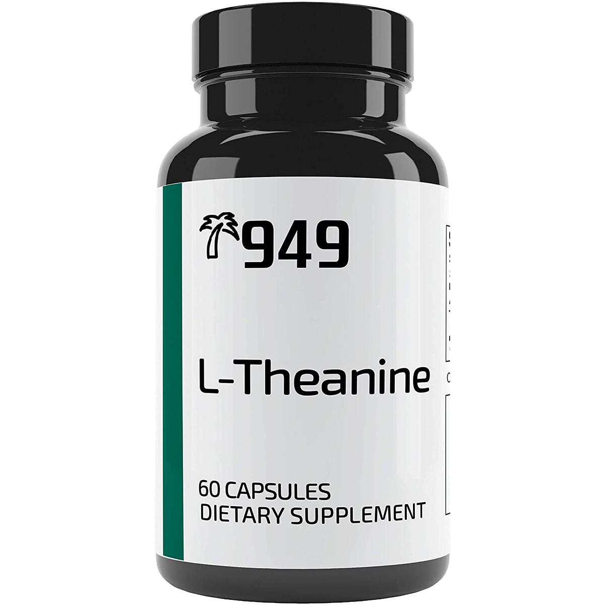L-Theanine, Under 10 Dollars, 60 Capsules, Relaxation, Stress Relief, No Additives or Filler, Lab-Tested to Ensure Purity, Made in The USA, Satisfaction 100% Guaranteed, 949*