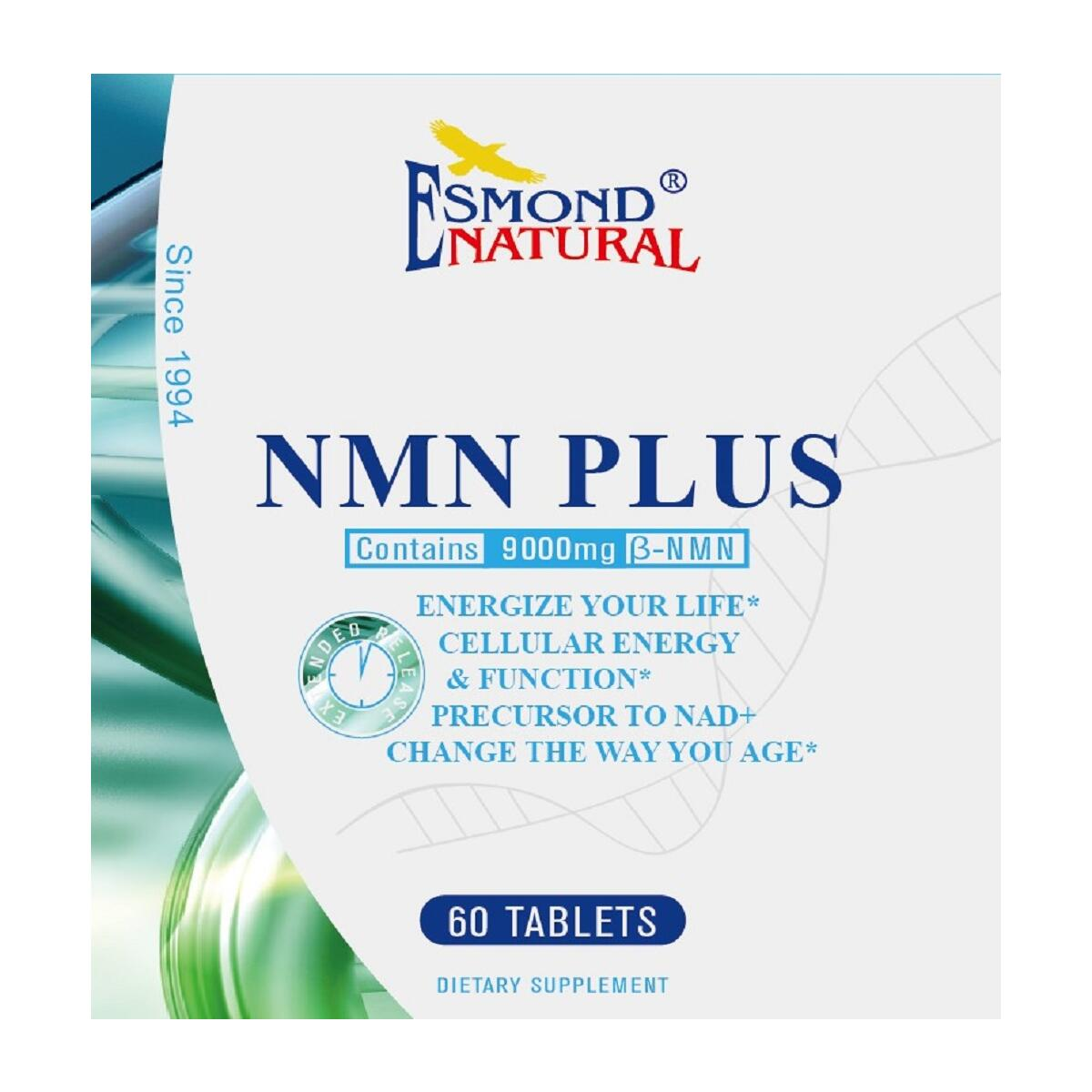 Esmond Natural: NMN Plus (Changes The Way You Age, 300mg NMN+30mg Trans Resveratrol, Total 9000mg Beta-NMN), GMP, Natural Product Assn Certified, Made in USA-330mg, 60 Tablets