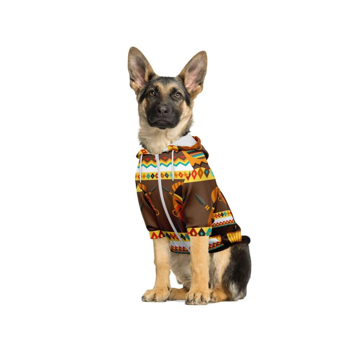 African Djembe Masks Dog Zip-Up Hoodie, S