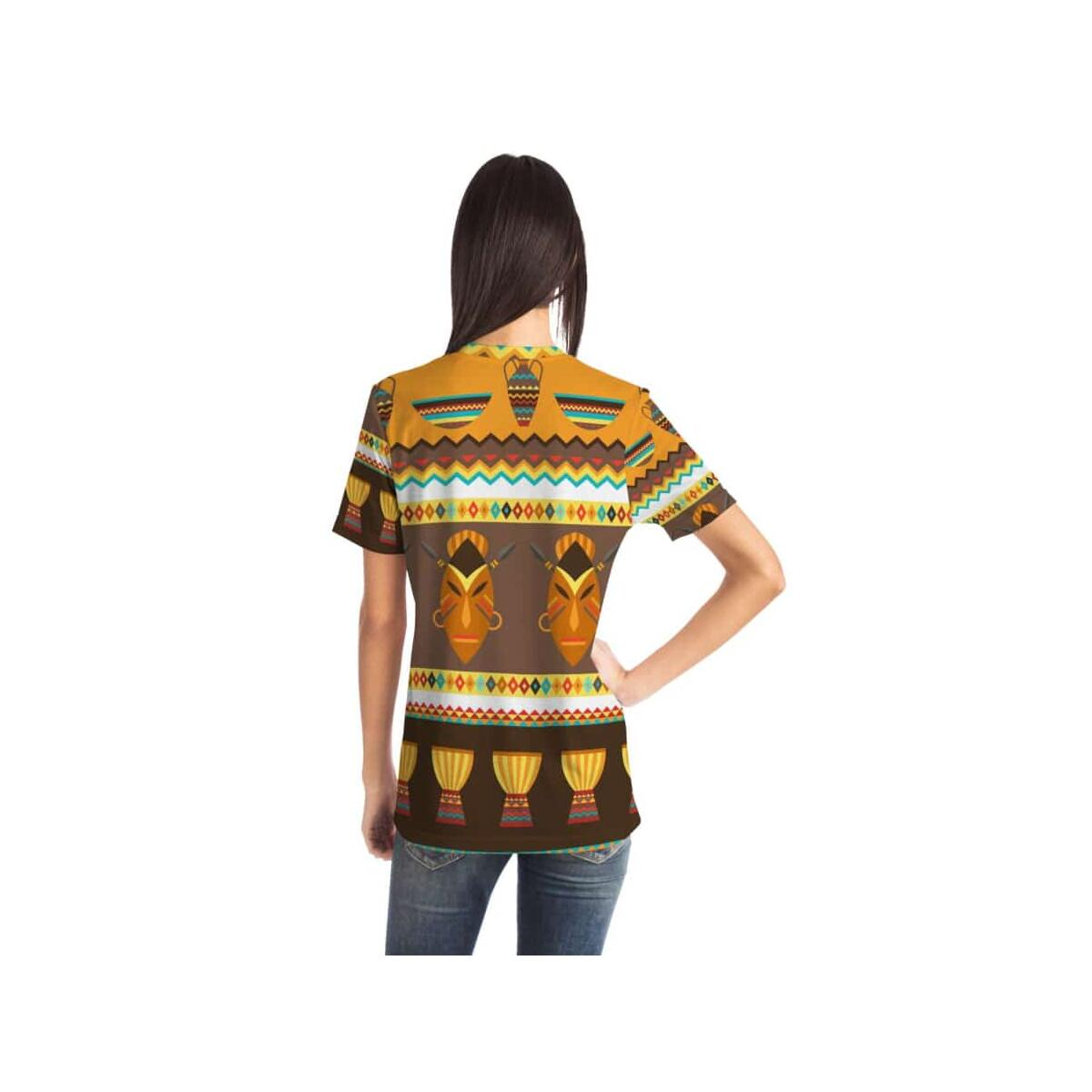 African Djembe Masks Pocket T-shirt, M
