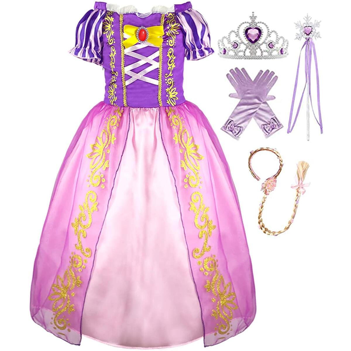 Girls Princess Dress Costume - Birthday Party Purple Puff Dress Up for Toddler