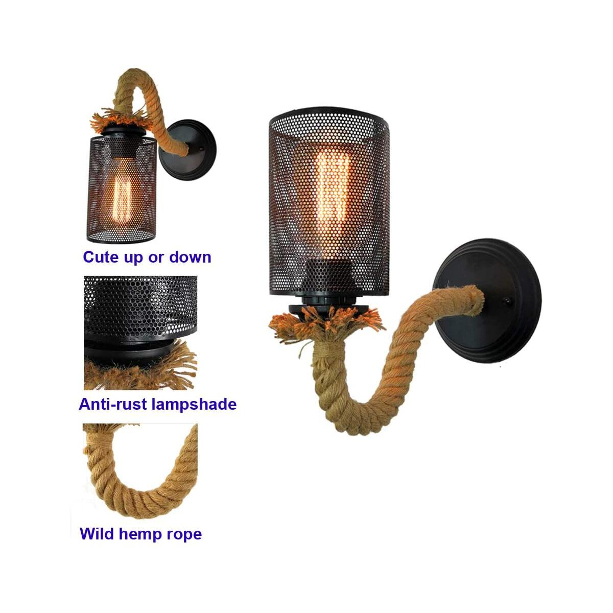 Vintage Farmhouse Wall Sconces Set of 2, Rustic Industrial Sconces Wall Lighting Fixture with Black Cage Shade & Hemp Rope, Indoor Wall Lamps & Sconces for Bedroom Bar Cellar Porch Garage