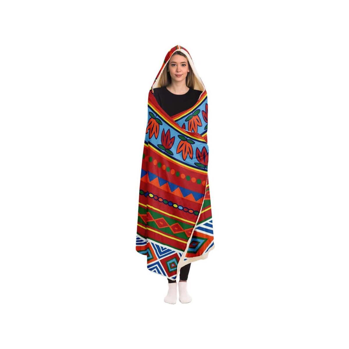African Lotus Hooded Blanket, Adult / Micro Fleece
