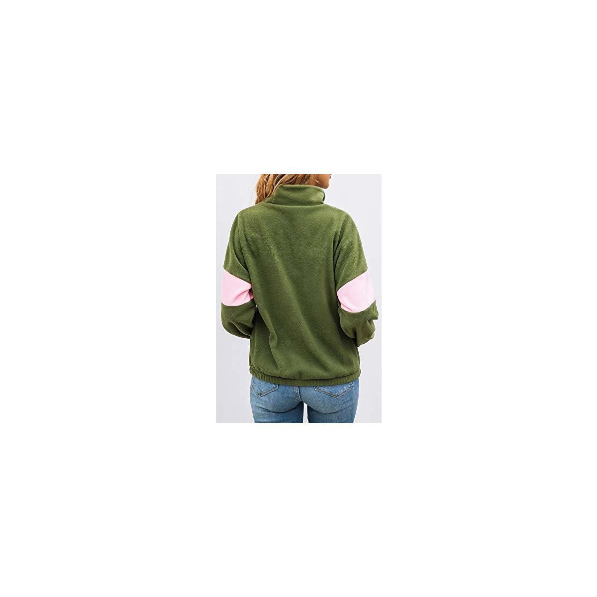 Women's Long Sleeve Half Zipper Pullover Sweatshirt Crossing Windproof Fleece Anti-Pilling Coat Winter Outwear Tops