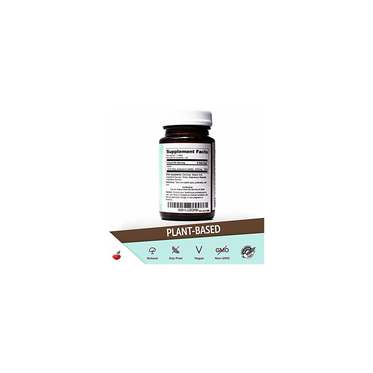Yuve Natural Organic Sea Kelp Supplement - Thyroid Support with Iodine 225 mcg - Vegan, Plant Based, Non-GMO, Gluten-Free, Soy-Free - Pure Dried Seaweed Sourced from North Atlantic Ocean - 100 Tablets