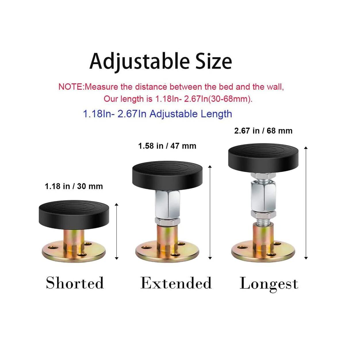 4 PCS Bed Frame Anti-Shake Tool, No More Wobble, 1.1In- 2.6In Adjustable Headboard Stabilizer, Headboard Stoppers for Beds Cabinets Sofas, Easy Install